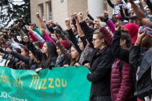 Students and Administration stand on the steps of the Administration Building in protest of the racial discrimination at Mizzou. (Photo credit: Ryan Arb.)